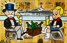 Alec Monopoly Oil Painting on Canvas Abstract Urban art wall decor Yacht 28x48""