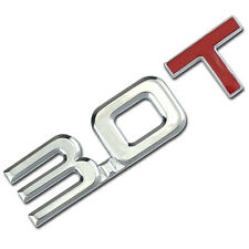 CHROME/RED 3.0 T METAL TURBO ENGINE RACE MOTOR SWAP EMBLEM BADGE DECAL FOR TRUNK
