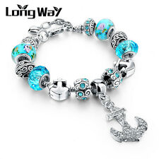 Blue European 925 Glass Bead Charms Bracelet Crystal Women Christmas Jewelry G