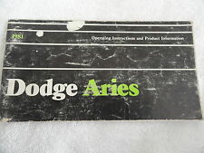 1981 Dodge Aries  Owners Manual