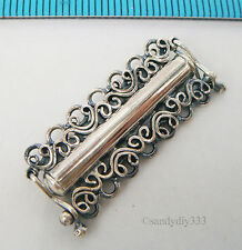 1x OXIDIZED STERLING SILVER 7-STRAND BUTTERFLY BOX CLASP 29mm #2170