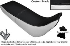 BLACK AND WHITE CUSTOM FITS YAMAHA XT 600 E 96-04 DUAL LEATHER SEAT COVER