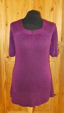 NATURE REPUBLIC purple metallic lurex knit short sleeve tunic top square neck 18