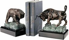 Bull and Bear Wall Street 2 Cast Iron Sculptures Bookends solid marble bases