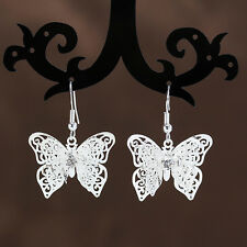 New Fashion Women Pretty 925 Sterling Silver Butterfly Dangle Earrings Jewelry