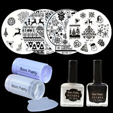 8pcs/set Christmas Round Nail Art Stamp Plates & White Black Stamping Polish DIY