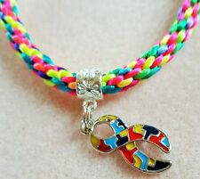 Autism Awareness Charm on Multi-coloured Kumihimo Bracelet (with yellow)