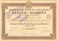 Societe du Film en Couleurs Keller - Dorian SA, accion preferente, Paris, 1924