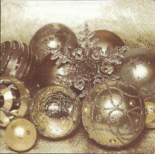 3 Servietten Napkins Winter Weihnachten Weihnachtsgesteck Kugeln #257