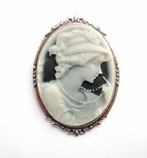 Flapper Girl Cameo in Antiqued Silver Tone Setting 50mm