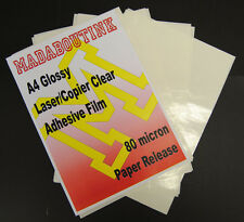 20 A4 Laser Printer Clear Adhesive Sticker Film Sheets 80mic Paper Release