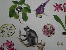 Sanderson Curtain Fabric  'Capuchins' Boysenberry Col 2.4 METRES ~ Linen Blend
