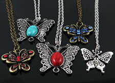 5Pcs Wholesale Fashion Jewelry Lot Mixed VINTAGE butterfly Pendant Necklace M74