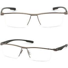 Graue Herren RX Brille Brillengestell Titan Metall Fassung Leicht Halbrandbrille