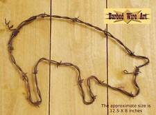 Pig - animal handmade metal decor barbed wire art farm western country sculpture