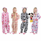 Girls Cosy Fleece Onesie All In One Pyjamas Sleepsuit PJs Kids Child Nightwear