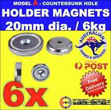 6X Magnetic Countersunk POT Holders 20mm 6kg ideal for holding Christmas Lights