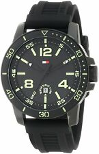New Tommy Hilfiger Black Rubber Band Date Men Dress Watch 42mm 1790847 $115