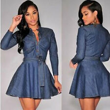 New Summer Women Fashion Slim Fit Denim Jean Long Sleeve Shirt Dress Blue BY