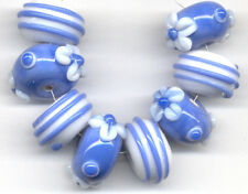 Lampwork Handmade Glass Beads Opaque Sapphire White Daisy Swirls Rondelle Spacer