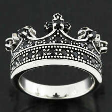 Black Sapphire King Crown Cross 925 Sterling Silver Ring Gothic Size L-Z, 6-13