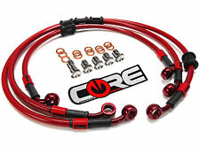 HONDA CBR600F2 1991-1994 STEEL BRAIDED FRONT AND REAR BRAKE LINES TRANS RED