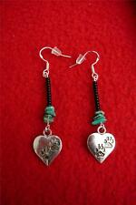 Hearts with Paws and Turquoise Beaded Earrings - Native American Indian