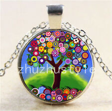 New Color Tree of Life Cabochon Glass Tibet Silver Chain Pendant Necklace#P14