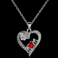 Mother's Day Gift Letter Crystal Flower Heart Silver Pendant Necklace Jewelry