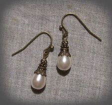 BRONZE FILIGREE GLASS WHITE PEARL TEAR DROP DAINTY EARRINGS VICTORIAN EDWARDIAN