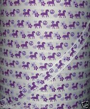 "5 yds 3/8"" M2MG COWGIRLS AT HEART HORSES PONY GROSGRAIN RIBBON 4 BOWS"