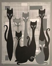 EL GATO GOMEZ RETRO MID CENTURY MODERN CAT ILLUSTRATION PAINTING 1950'S ABSTRACT