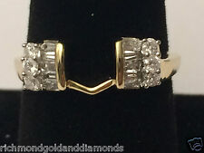 14k Yellow Gold Baggette Diamond Solitaire Wrap Ring Guard Enhancer Jacket 3Stne