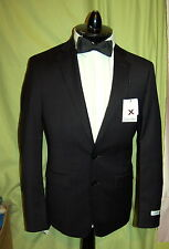 NWT CALVIN KLEIN X slim fit men 2 button 100% wool black plaid suit 44R W37 $650