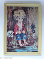 Vintage Retro Kitsch Art Print Tretchikoff / Lynch Era - Big Eye Boy and Dog