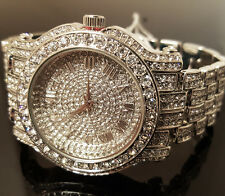 Men Hip Hop Iced out White Gold Techno Pave Bling Simulated Diamond Rapper Watch