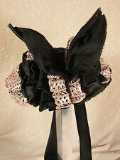 Antique Victorian Black Lace Ribbon Ladies' Women's Hat Bonnet Vintage