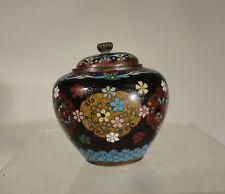 Antique Vintage Japanese Cloisonne Vase Jar Floral Decoration Goldstone Meiji