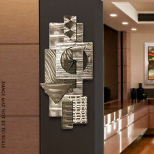 "Contemporary Abstract Metal Wall Art Sculpture Silver ""Dynamic Notions Clock"""