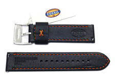 FOSSIL BLACK 22MM LEATHER WATCH STRAP,BAND+SILVER BUCKLE-S221161