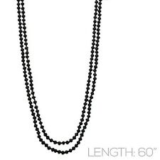 "60"" Long Black Crystal Beaded Wrap Around Necklace"