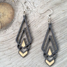 CHEVRON DECO Green Tree Jewelry BLACK SATIN laser-cut wood earrings 1039 art