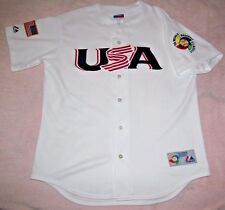 USA 2006 World Baseball Classic Home White Majestic Jersey Men L Rare
