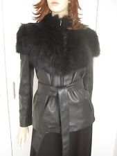 "SASS & BIDE ""RIDER'S WAY"" FITTED SHEARLING/ LEATHER JACKET Blk RRP$1400 size 14"