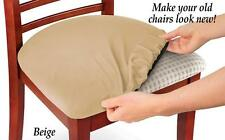 Set of 4 Beige Stretchable Easy Fit Seat Covers for Chairs, Bar Stools, & More