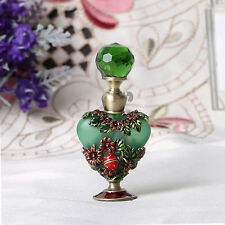 Vintage Green Metal Flower Refillable Crystal Perfume Bottle Home Decor 8ML New