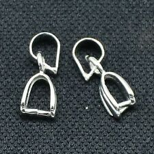 20pcs New Silver Brass Ice Pick & Pinch Bails DIY Necklace Charms Finding 15x5mm
