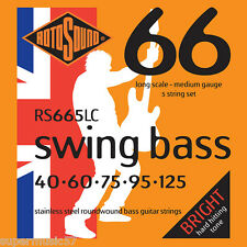 Rotosound RS665LC 5 String Swing Bass Guitar Stainless Steel Roundwound 40-125