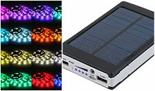 Solar Battery Powered 5050 RGB LED Strip Light Kit - USB Power Bank - 2 meter