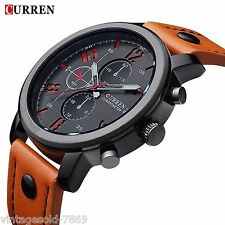 2016 New Fashion Curren Branded  Leather Strap Military Wrist Watch